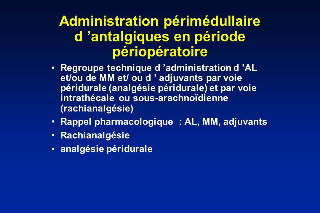 Administration périmédullaire d 'antalgiques en période périopératoire