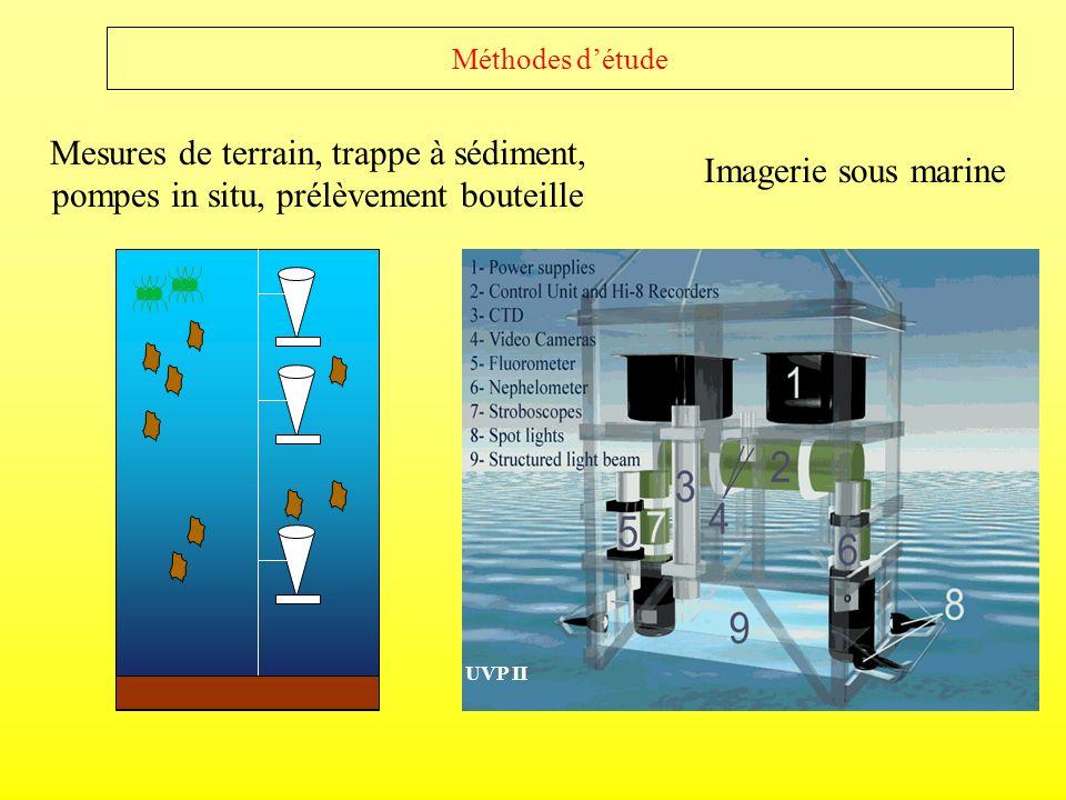 Méthodes d'étudeMesures de terrain, trappe à sédiment, pompes in situ, prélèvement bouteille. Imagerie sous marine.