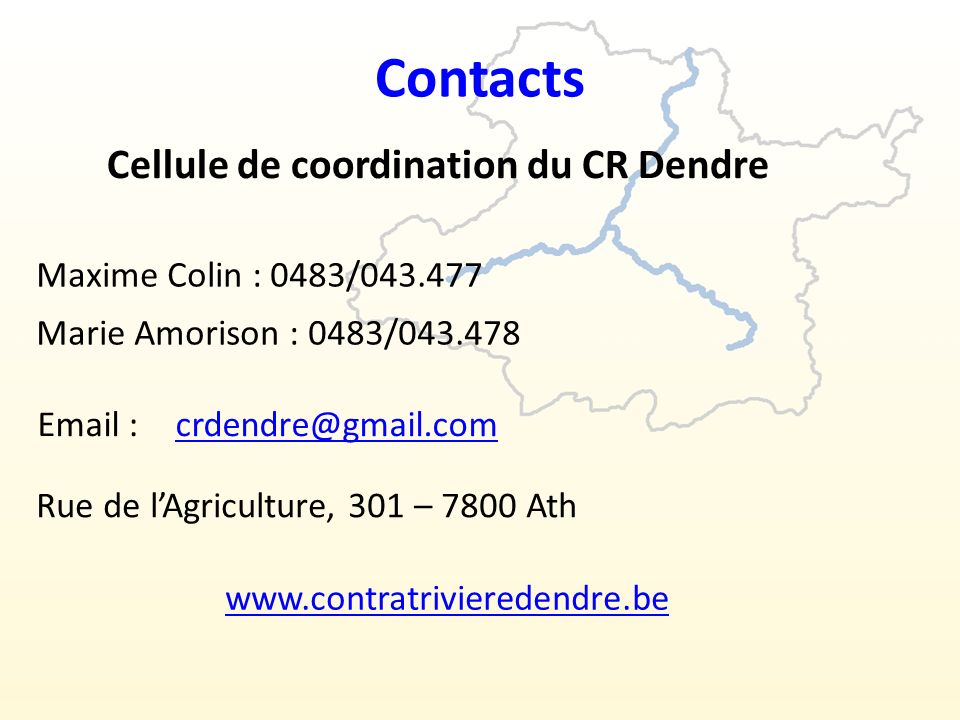 Contacts Cellule de coordination du CR Dendre