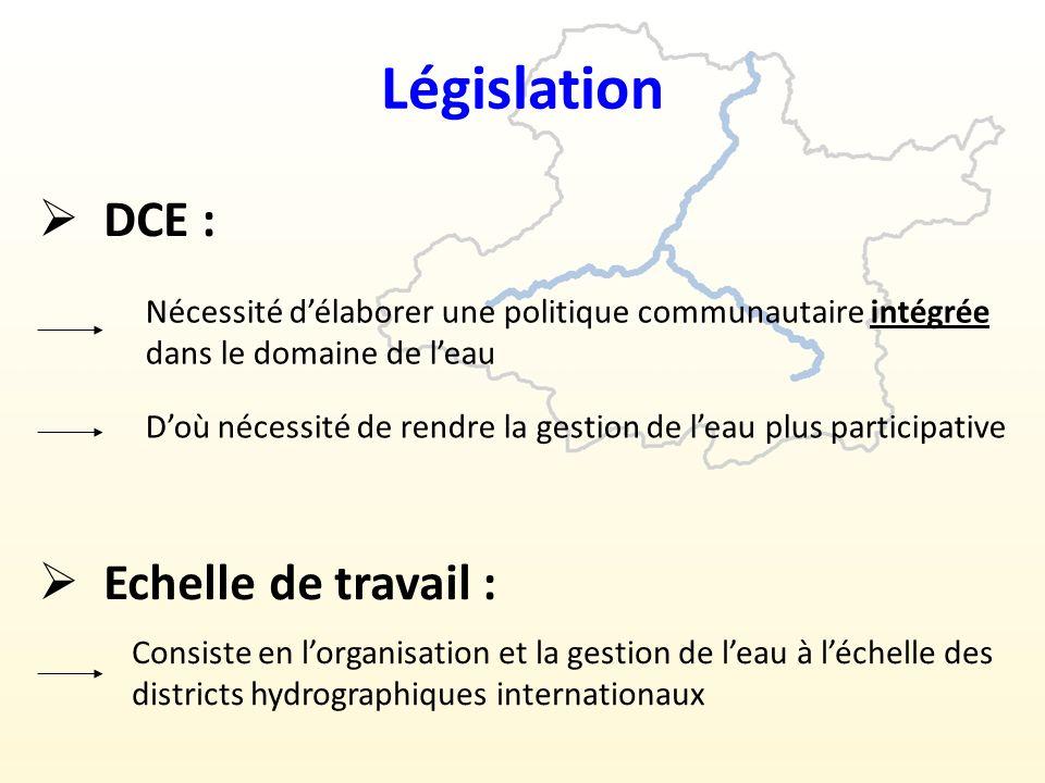 Législation DCE : Echelle de travail :
