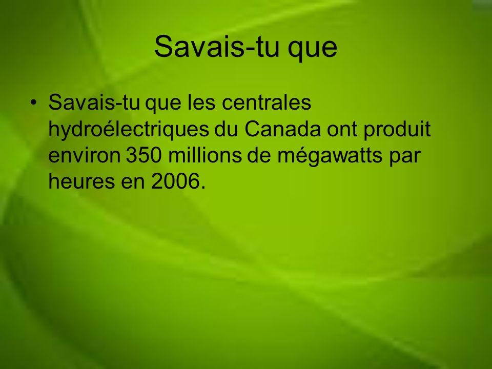 Savais-tu que Savais-tu que les centrales hydroélectriques du Canada ont produit environ 350 millions de mégawatts par heures en 2006.
