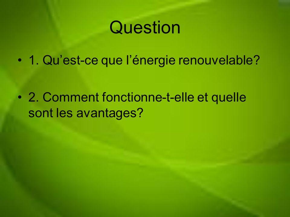 Question 1. Qu'est-ce que l'énergie renouvelable