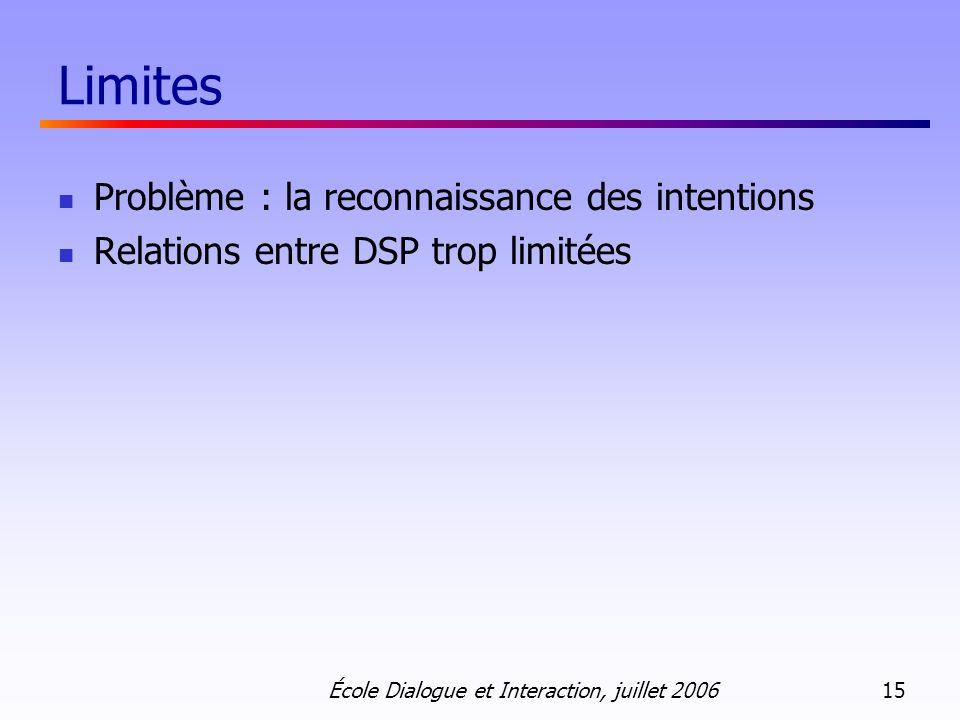 Crit Limites Problème : la reconnaissance des intentions