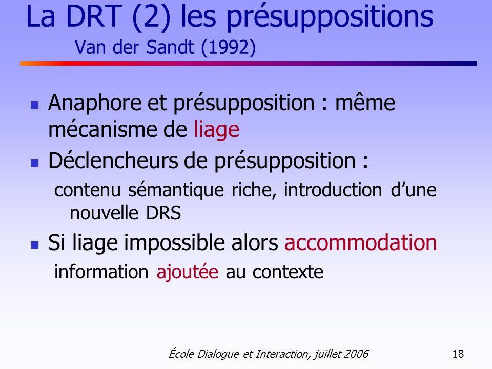 La DRT (2) les présuppositions Van der Sandt (1992)