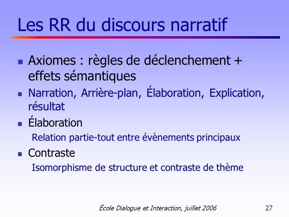Les RR du discours narratif