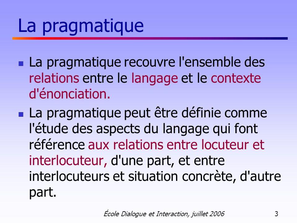 La pragmatique La pragmatique recouvre l ensemble des relations entre le langage et le contexte d énonciation.