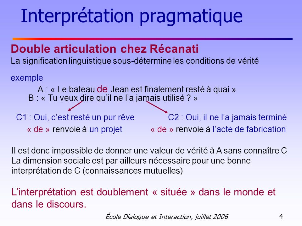 Interprétation pragmatique