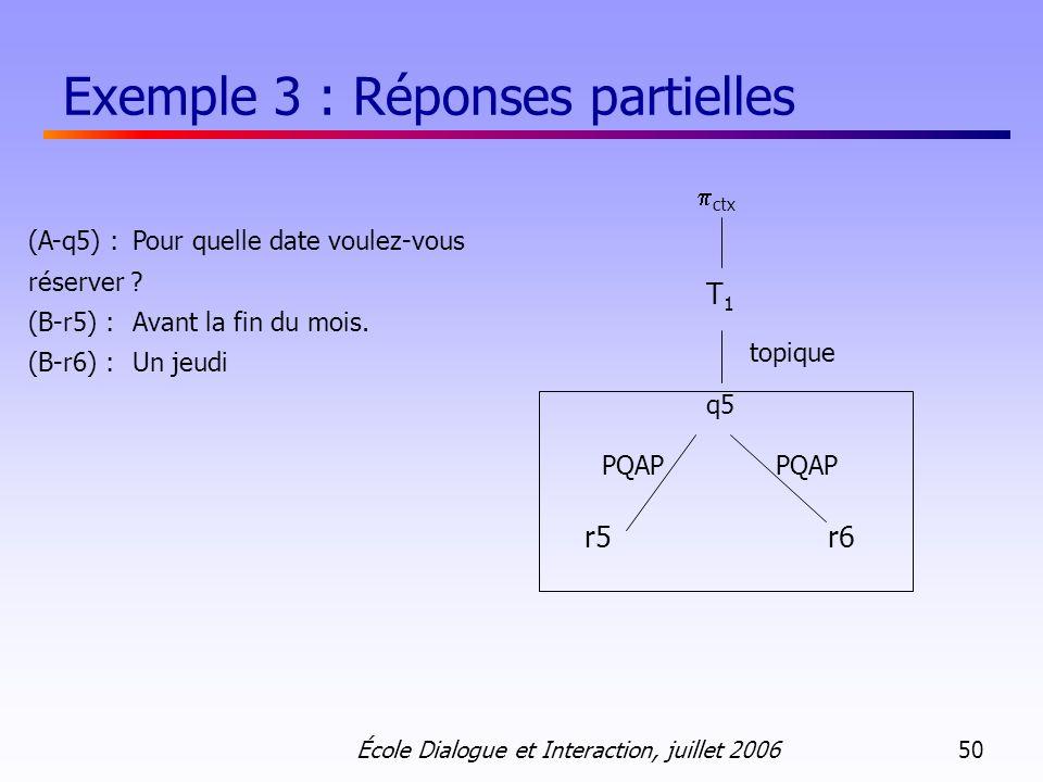 Exemple 3 : Réponses partielles