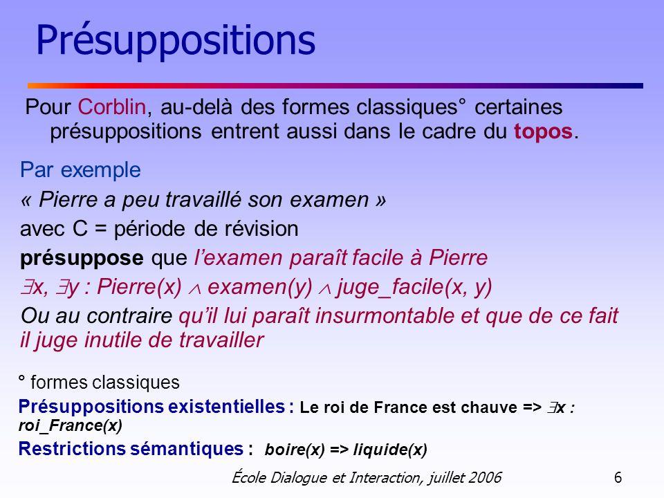 Présuppositions Pour Corblin, au-delà des formes classiques° certaines présuppositions entrent aussi dans le cadre du topos.