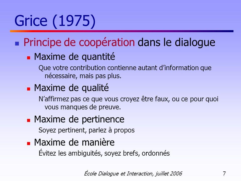 Grice (1975) Principe de coopération dans le dialogue