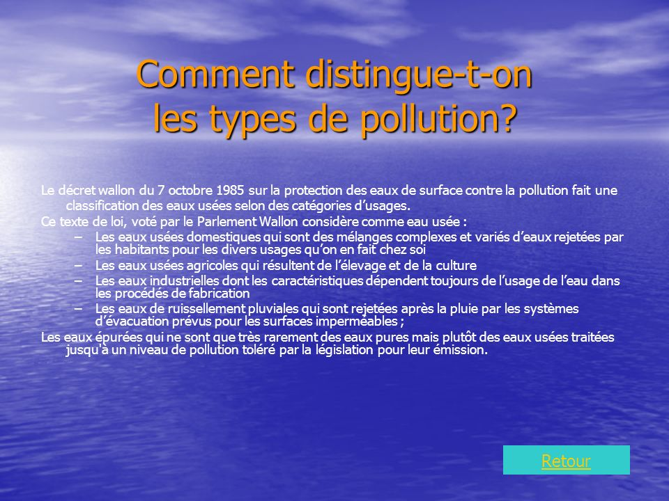 Comment distingue-t-on les types de pollution