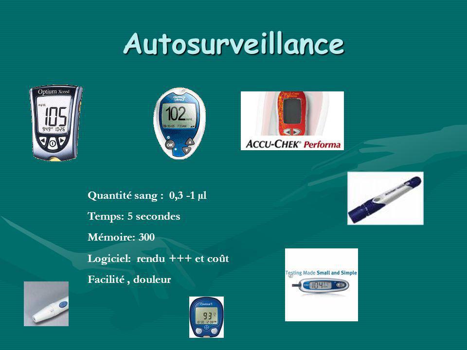 Autosurveillance Quantité sang : 0,3 -1 µl Temps: 5 secondes