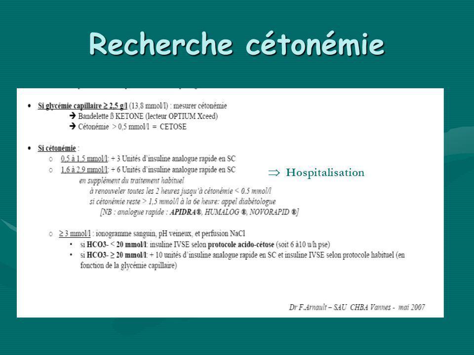Recherche cétonémie  Hospitalisation