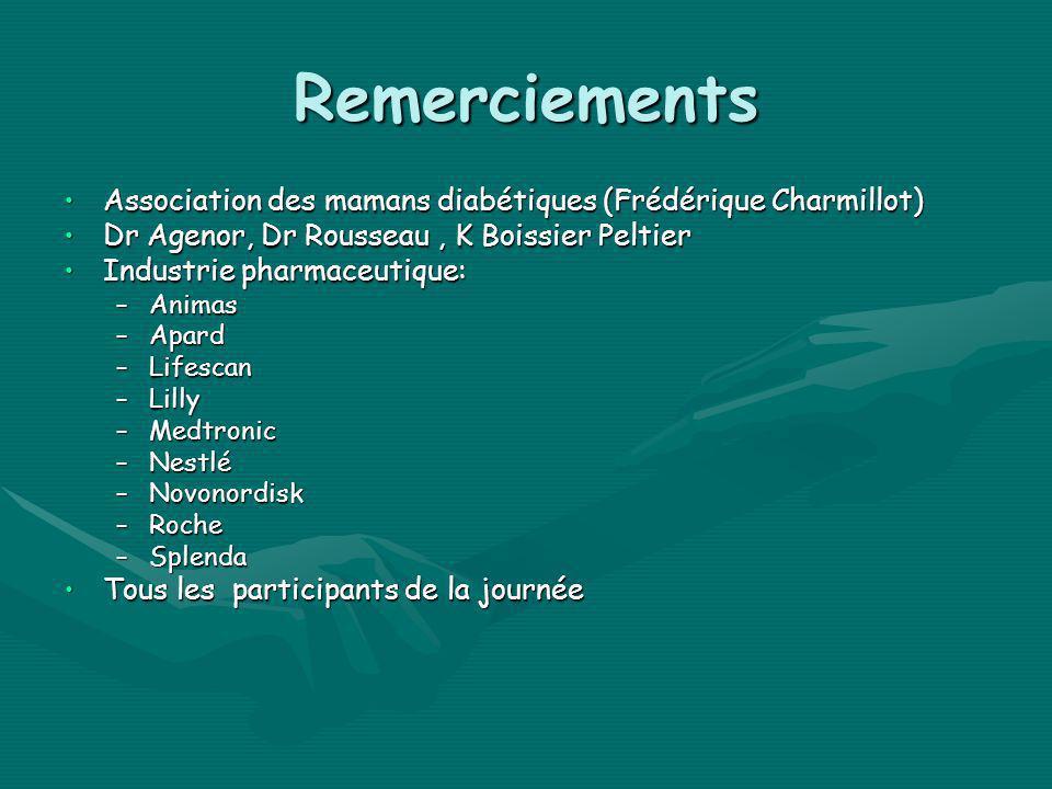 Remerciements Association des mamans diabétiques (Frédérique Charmillot) Dr Agenor, Dr Rousseau , K Boissier Peltier.