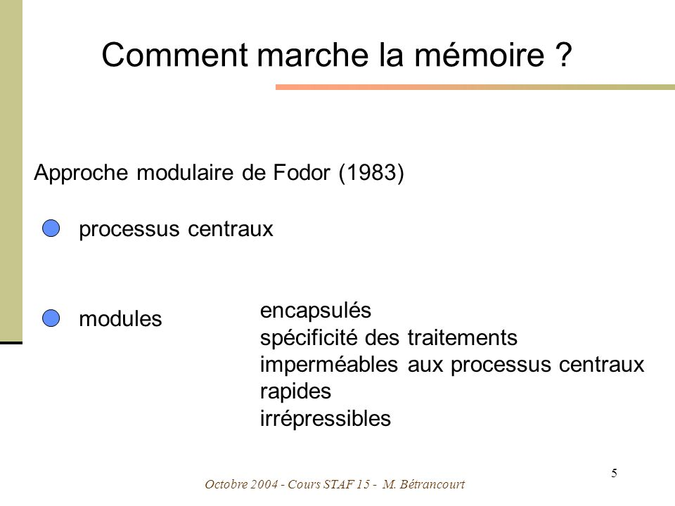 Comment marche la mémoire