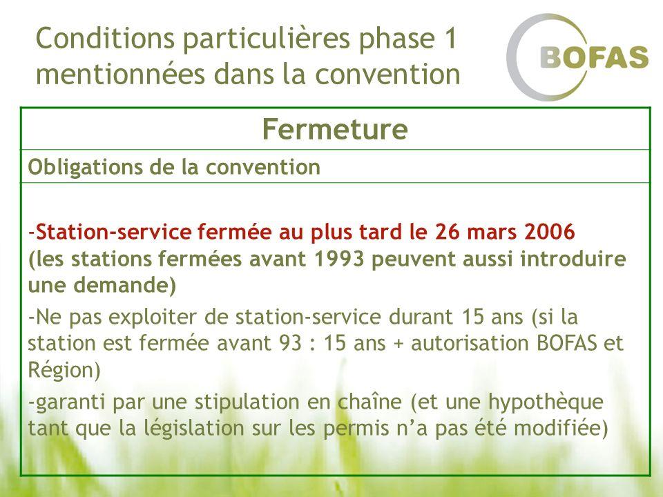 Conditions particulières phase 1 mentionnées dans la convention