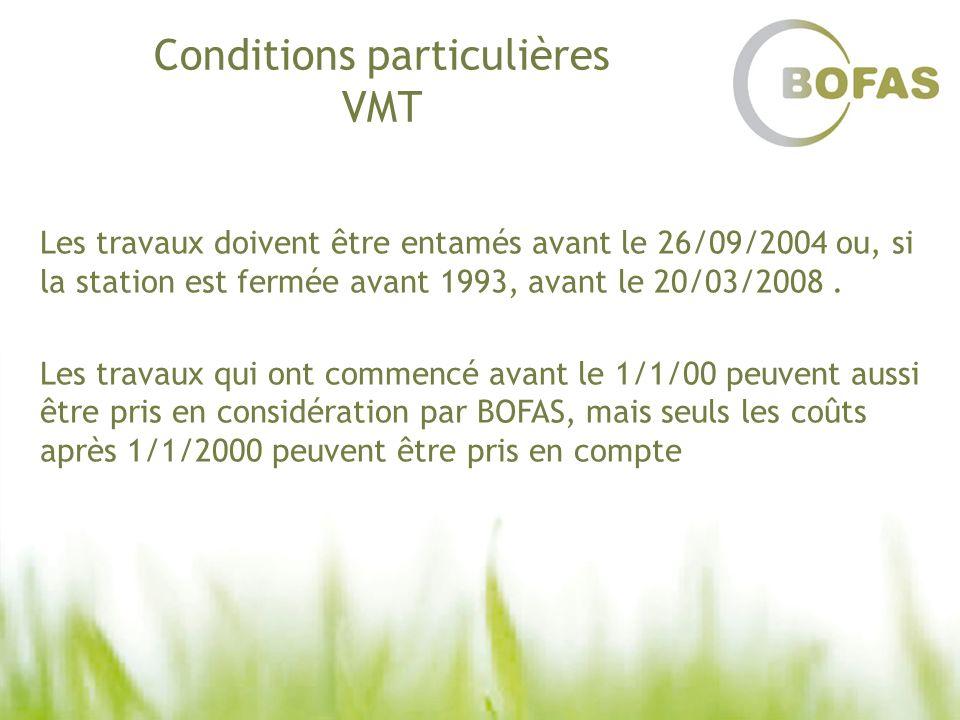 Conditions particulières VMT