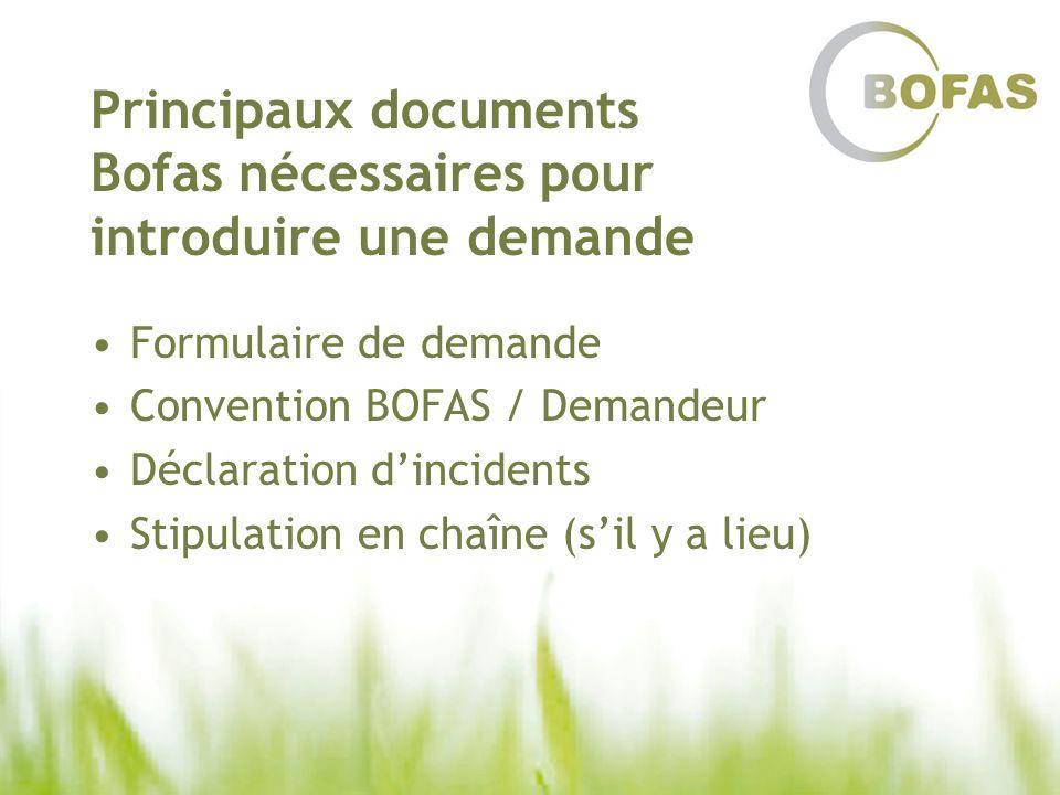 Principaux documents Bofas nécessaires pour introduire une demande