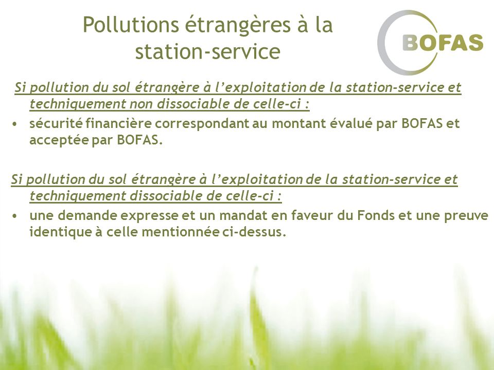 Pollutions étrangères à la station-service