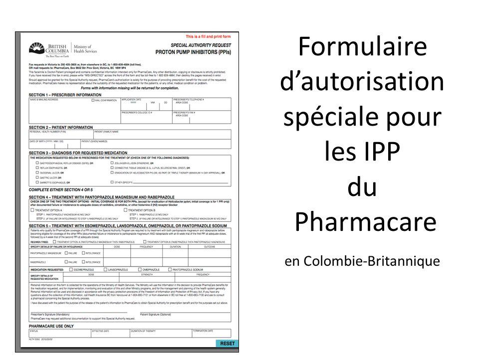 Formulaire d'autorisation spéciale pour les IPP du Pharmacare en Colombie-Britannique
