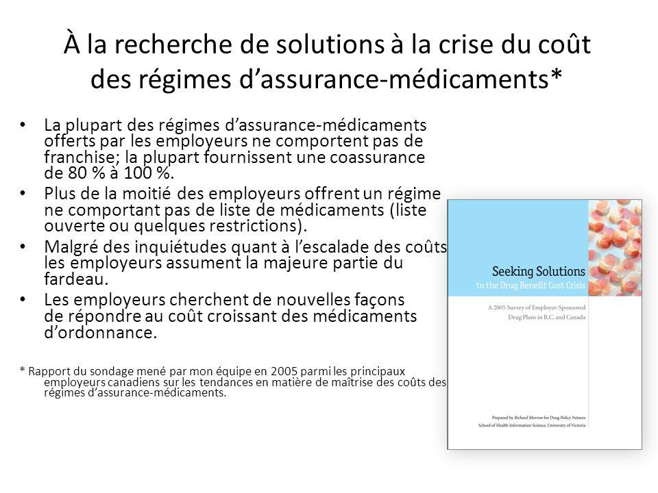 À la recherche de solutions à la crise du coût des régimes d'assurance-médicaments*