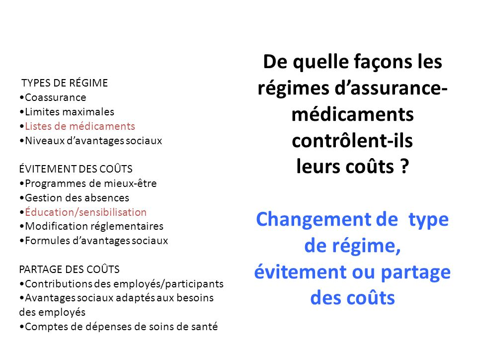 TYPES DE RÉGIME •Coassurance. •Limites maximales. •Listes de médicaments. •Niveaux d'avantages sociaux.