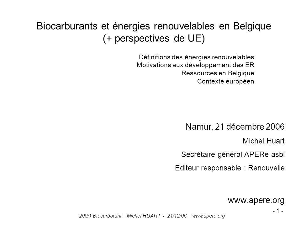 ENER002 2006-07. Biocarburants et énergies renouvelables en Belgique (+ perspectives de UE) Définitions des énergies renouvelables.