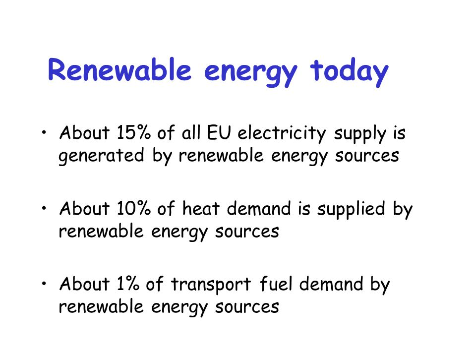 Renewable energy today