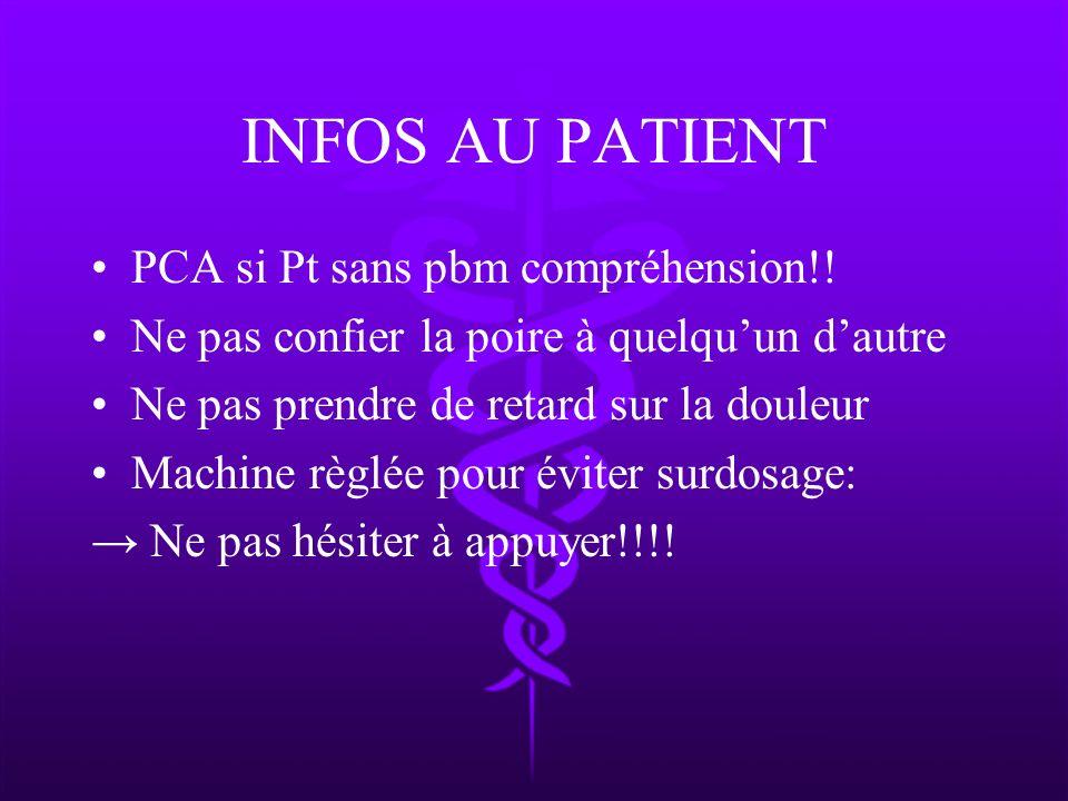 INFOS AU PATIENT PCA si Pt sans pbm compréhension!!