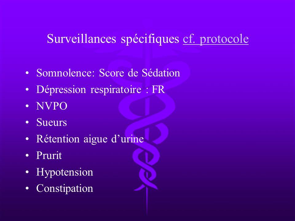 Surveillances spécifiques cf. protocole