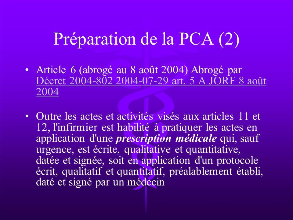 Préparation de la PCA (2)
