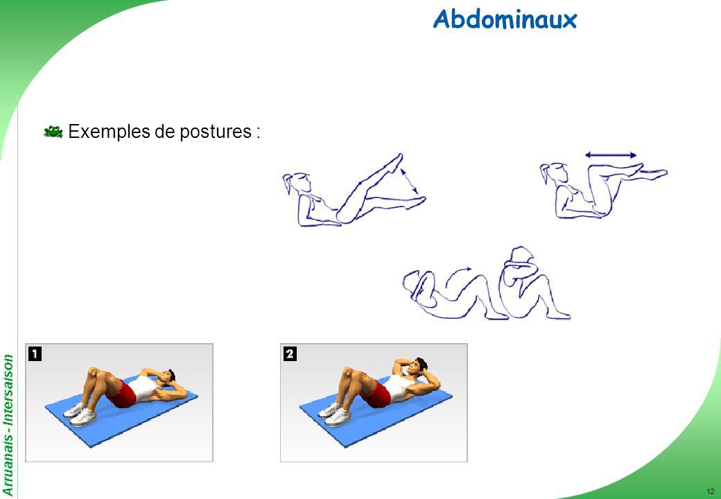 Abdominaux Exemples de postures :