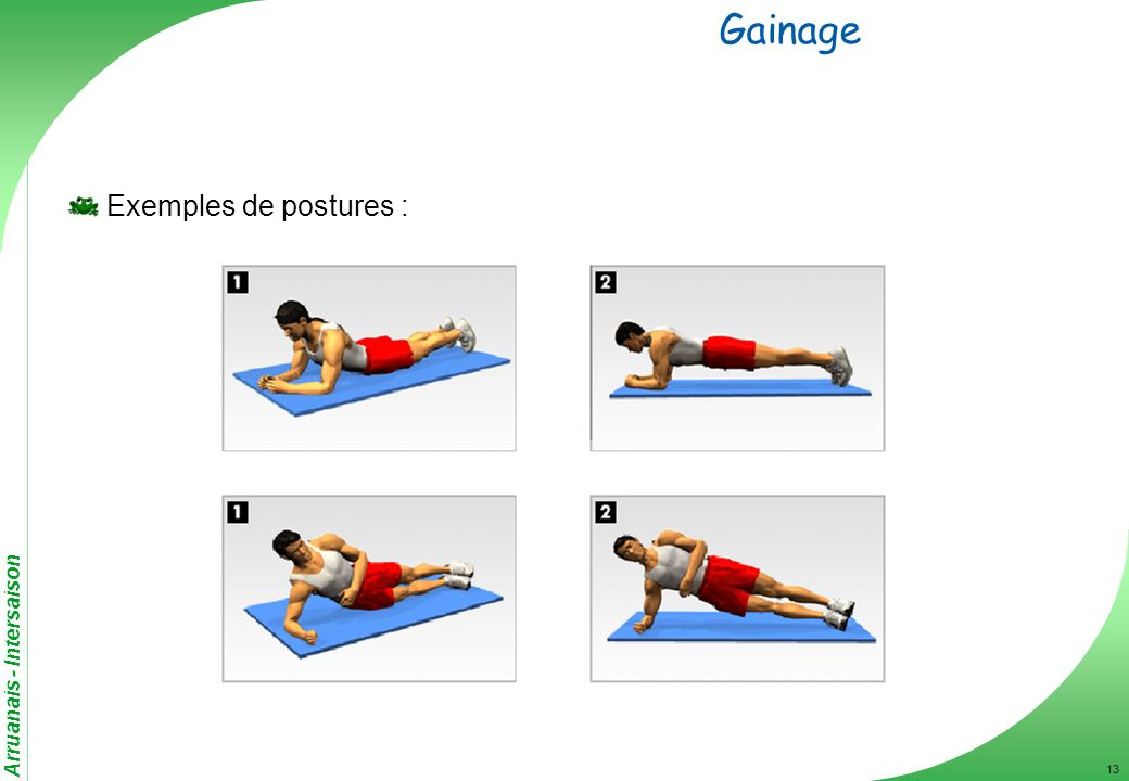 Gainage Exemples de postures :