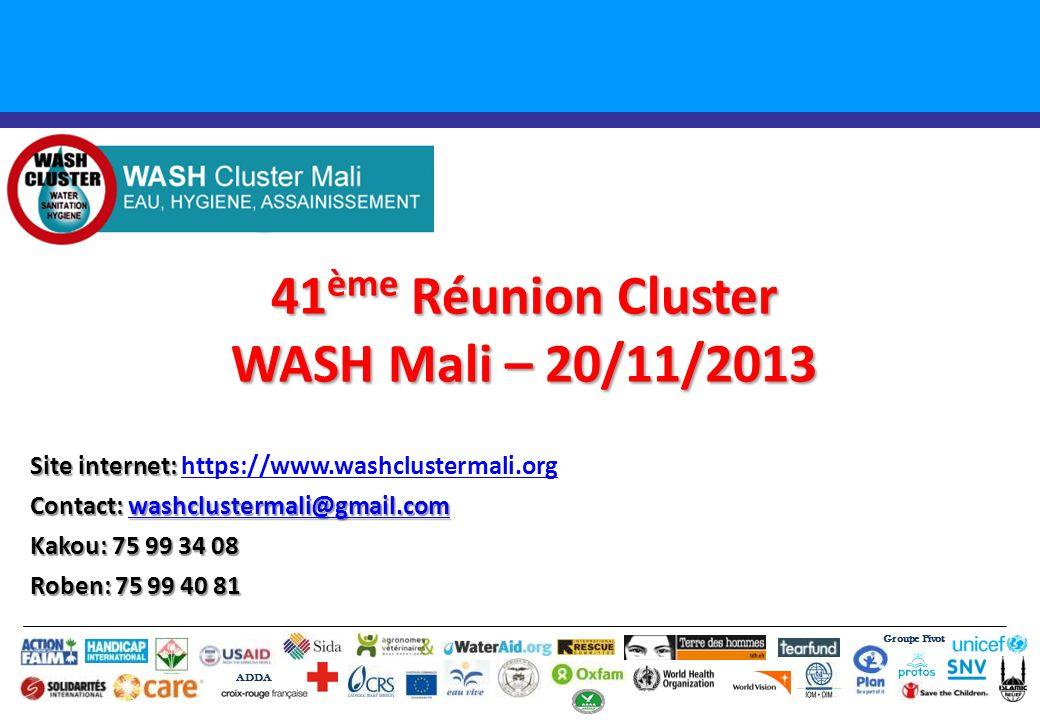 41ème Réunion Cluster WASH Mali – 20/11/2013