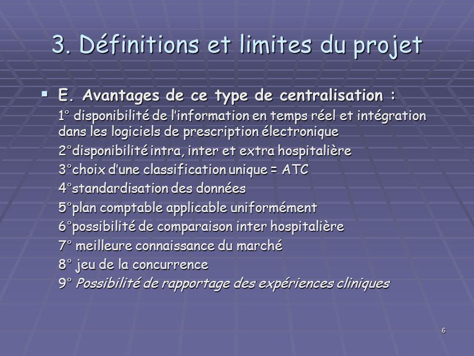 3. Définitions et limites du projet