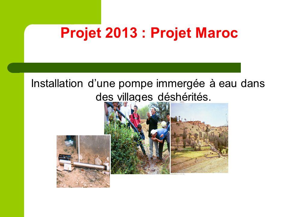 Installation d'une pompe immergée à eau dans des villages déshérités.