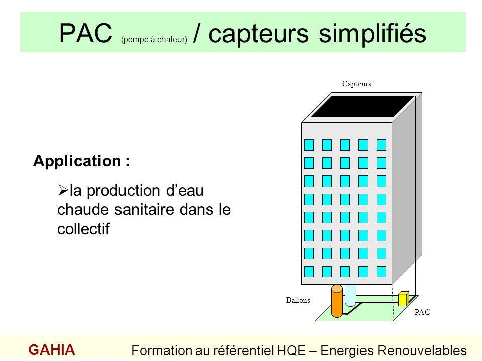 PAC (pompe à chaleur) / capteurs simplifiés