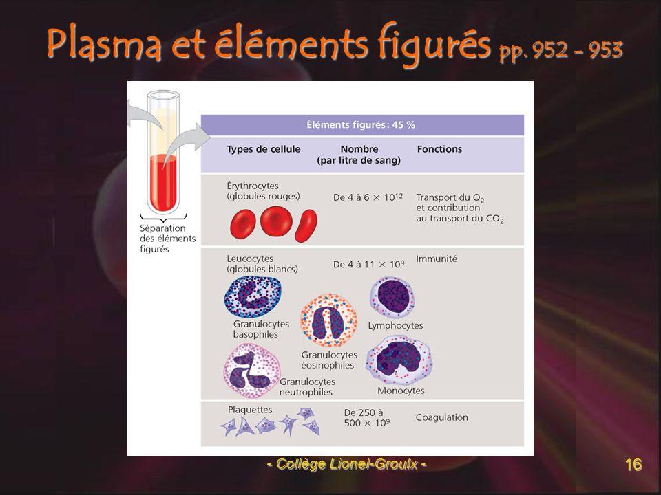 Plasma et éléments figurés pp. 952 - 953