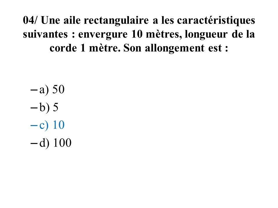 04/ Une aile rectangulaire a les caractéristiques suivantes : envergure 10 mètres, longueur de la corde 1 mètre. Son allongement est :