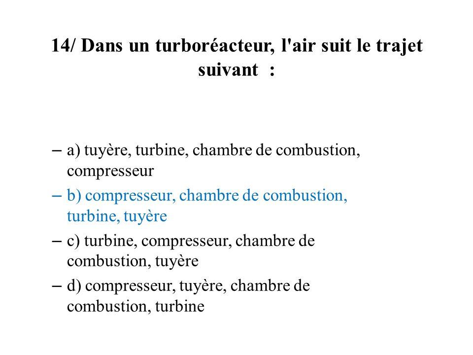 14/ Dans un turboréacteur, l air suit le trajet suivant :