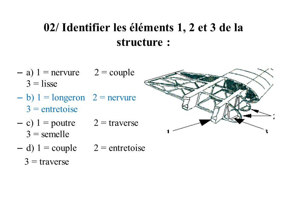 02/ Identifier les éléments 1, 2 et 3 de la structure :
