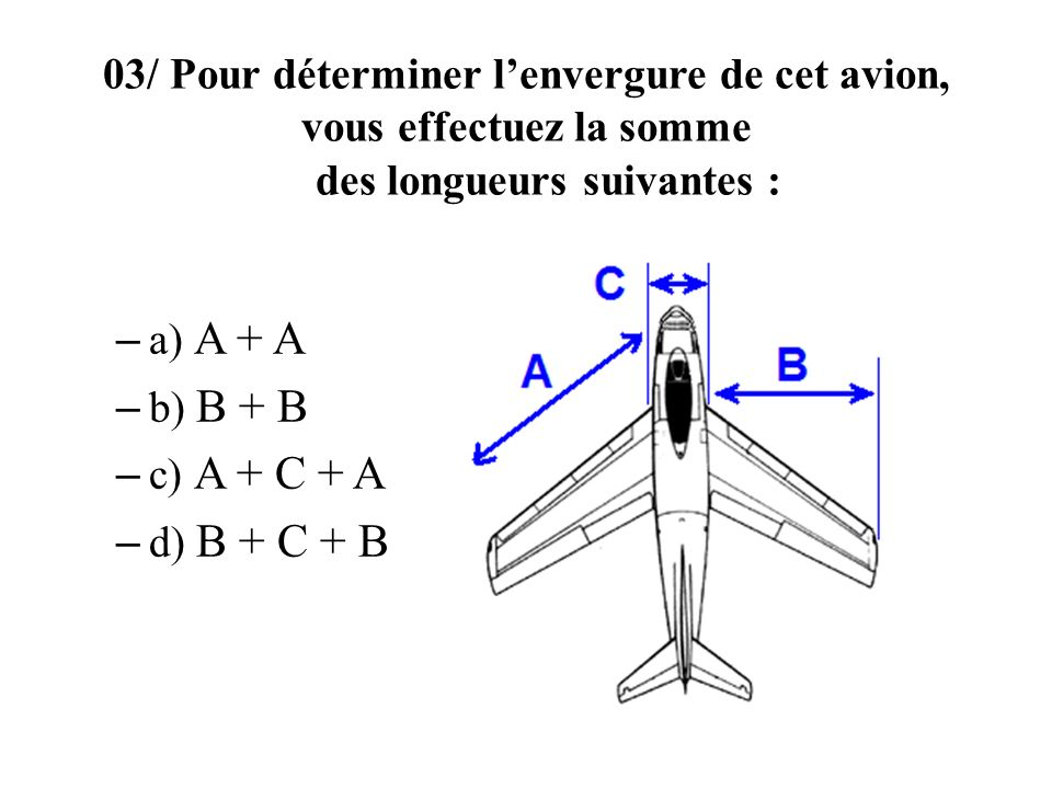 03/ Pour déterminer l'envergure de cet avion, vous effectuez la somme des longueurs suivantes :