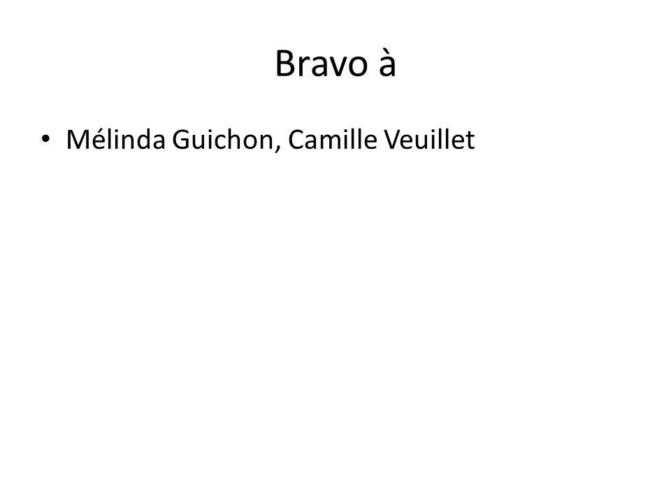 Bravo à Mélinda Guichon, Camille Veuillet