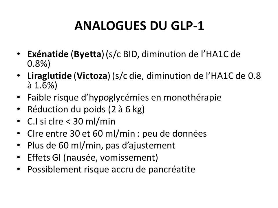 ANALOGUES DU GLP-1 Exénatide (Byetta) (s/c BID, diminution de l'HA1C de 0.8%) Liraglutide (Victoza) (s/c die, diminution de l'HA1C de 0.8 à 1.6%)
