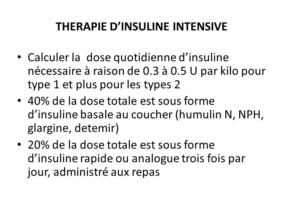 THERAPIE D'INSULINE INTENSIVE