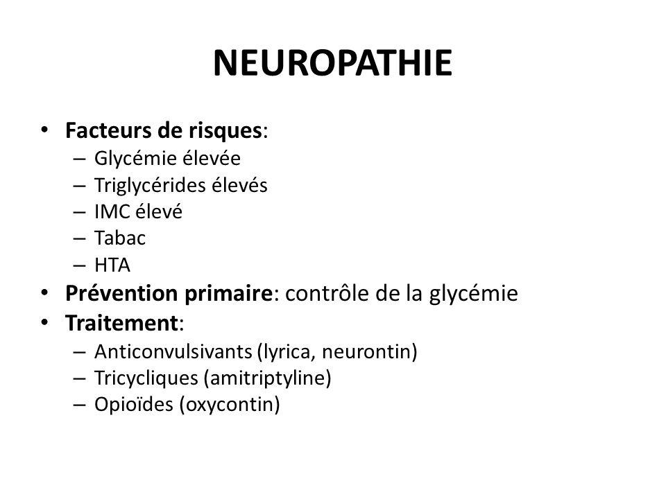 NEUROPATHIE Facteurs de risques: