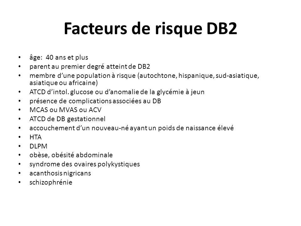 Facteurs de risque DB2 âge: 40 ans et plus
