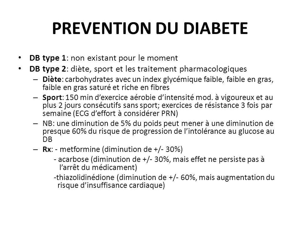 PREVENTION DU DIABETE DB type 1: non existant pour le moment