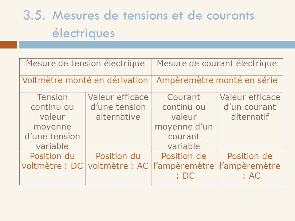 3.5. Mesures de tensions et de courants électriques
