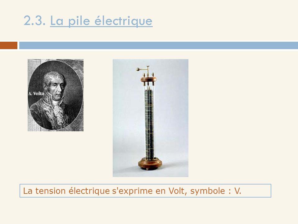 2.3. La pile électrique La tension électrique s exprime en Volt, symbole : V.